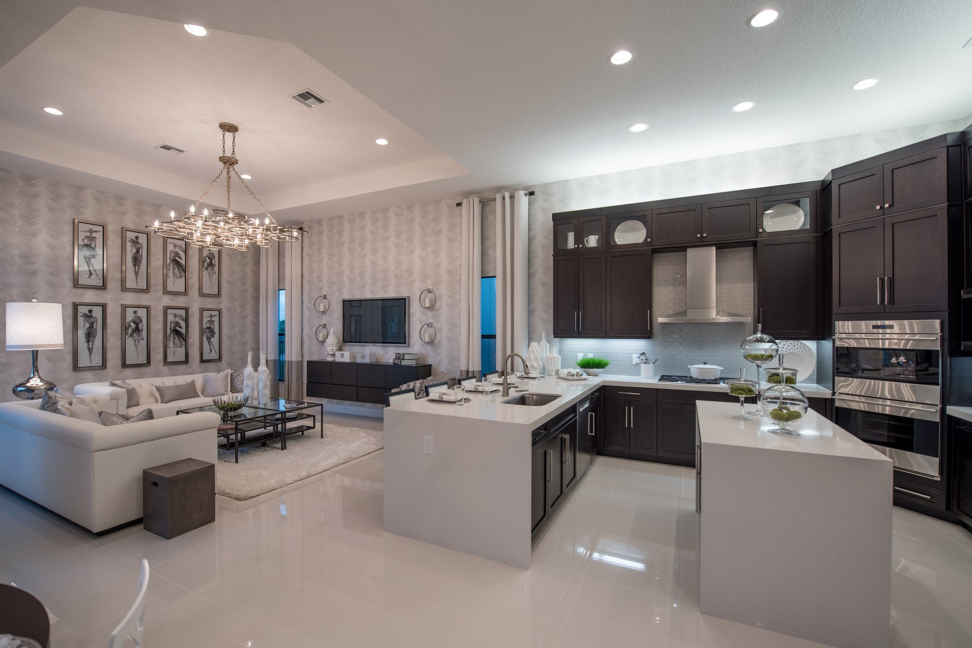 Charleston Grande Contemporary Kitchen and Family Room