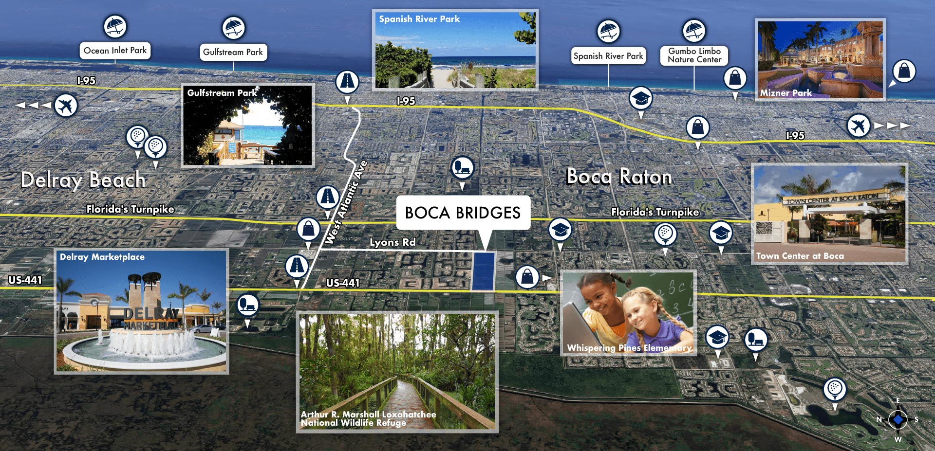 Boca Bridges Area Map