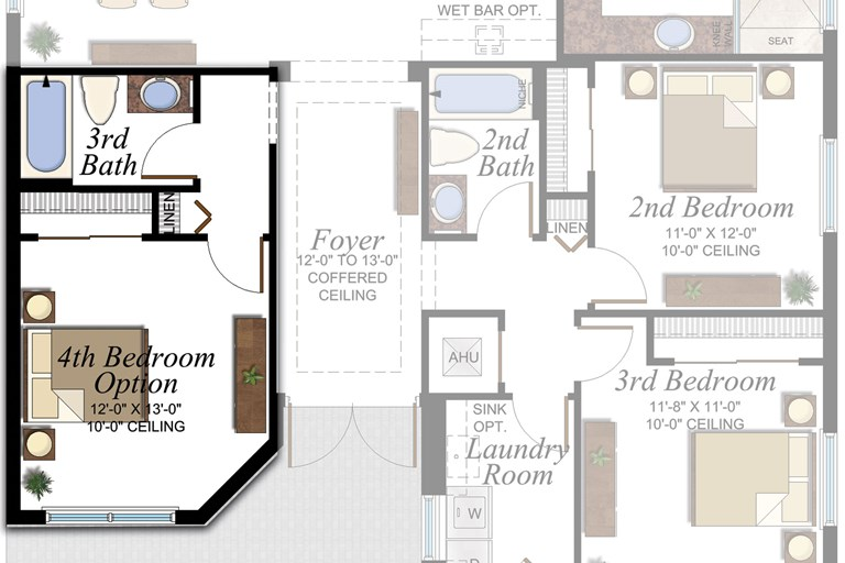 4th Bedroom & 3rd Bathroom in lieu of Den