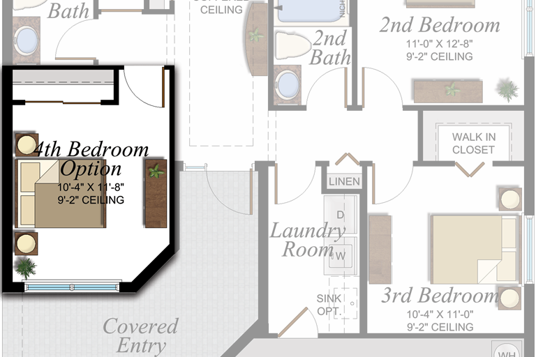 4th Bedroom in lieu of Den