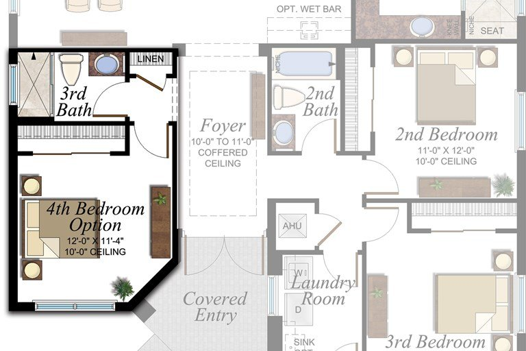 Den to 4th Bedroom and Full Bath